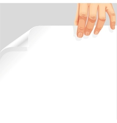 Male hand holding a blank white page curl vector