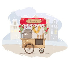 Mulled wine on wheels vector