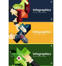 Set of infographic flat design banner with hands vector image vector image