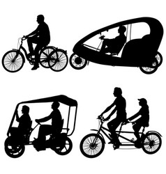 set silhouette of two athletes on tandem bicycle vector image