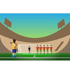 Soccer penalty on football stadium vector