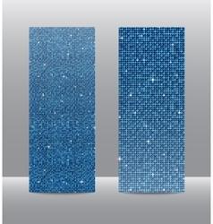 Vertical set blue sequins banners glitter vector