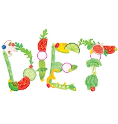 Word diet from food vector image