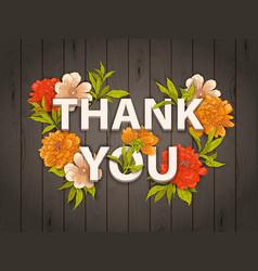 Thank you floral card vector
