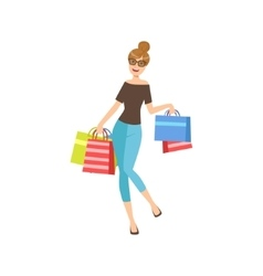 Happy Shopaholic Girl With Paper Shopping Bags vector image
