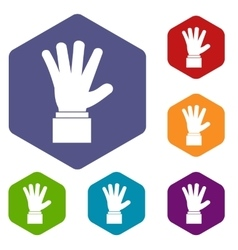 Hand showing five fingers icons set vector image