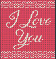 Greeting card knitted texture with text and hearts vector