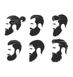 set of silhouettes of a bearded men hipster style vector image