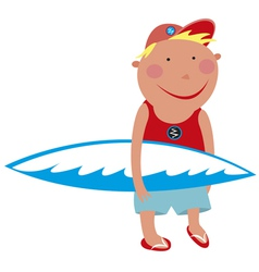 Boy with a surfboard vector