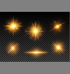 Golden lights set vector