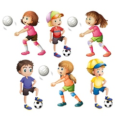 Kids playing volleyball and football vector