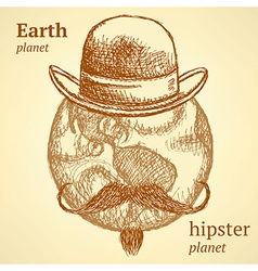Sketch earth planet in hipster style vector