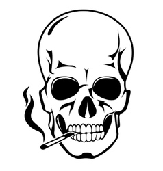 Skull for danger smoke concept vector