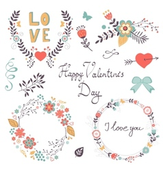 Elegant collection of romantic graphic elements vector