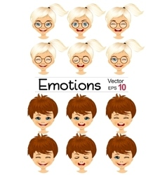 Kids showing different facial expressions vector