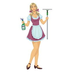beautiful girl maid cleaner vector image