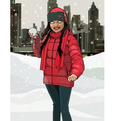 Cartoon smiling girl with snow in hands vector