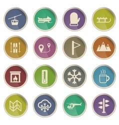 Skiing simply icons vector image