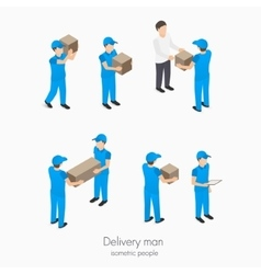 Set of delivery man with boxes vector