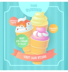 Retro poster with different kinds of ice cream vector