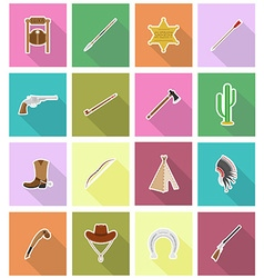 Wild west flat icons 18 vector