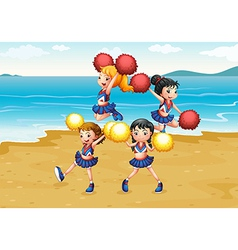 A cheering squad performing at the beach vector
