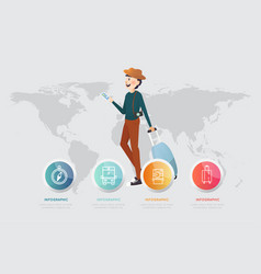 A man with smart phone and luggage on map vector