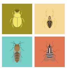 Assembly flat bug scarab araneus bee vector