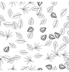 Black and white floral seamless pattern with vector