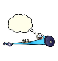 Cartoon drag racer with thought bubble vector