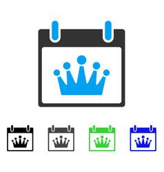 Crown calendar day flat icon vector