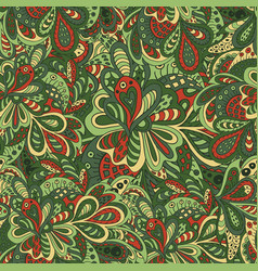 Doodle floral seamless pattern green tones vector
