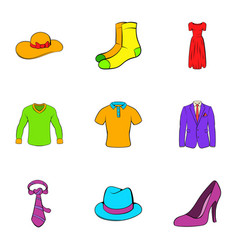 dressing room icons set cartoon style vector image