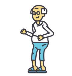 Elderly man grandfather concept line icon vector