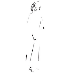 Fashion model sketch cartoon girls silhouette vector