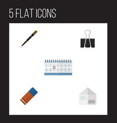 flat icon stationery set of date block letter vector image vector image