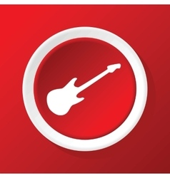 Guitar icon on red vector