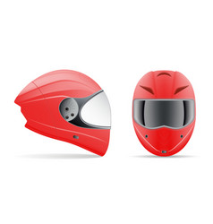 high quality red motorcycle helmet front and side vector image