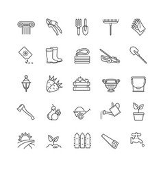 Icons set - gardening tools flowersvegetables vector
