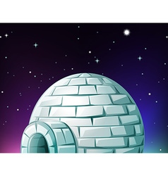 Igloo at night time vector