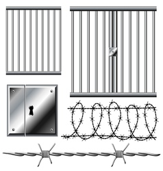 Jail grid with barbed wire set vector image