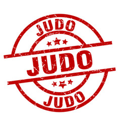 judo round red grunge stamp vector image vector image
