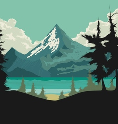 Lake scene hand drawing vector