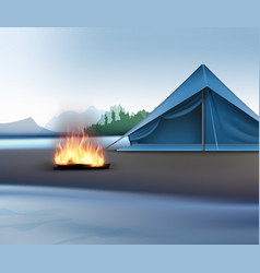Landscape with camping zone vector