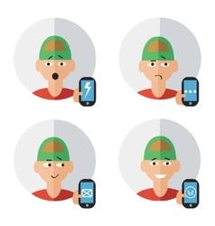Man character with phone emotions vector image vector image