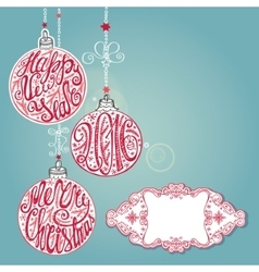 New year Christmas card lettering ballsBlue vector image