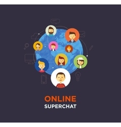 Online chat social media vector
