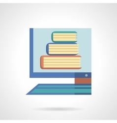 Online library flat color design icon vector