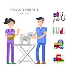 Pet shop pets accessories and vet store vector