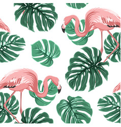 pink flamingo birds green monstera leaves pattern vector image vector image